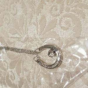 Jewelry - Horseshoe, cz accents, silver necklace NEW
